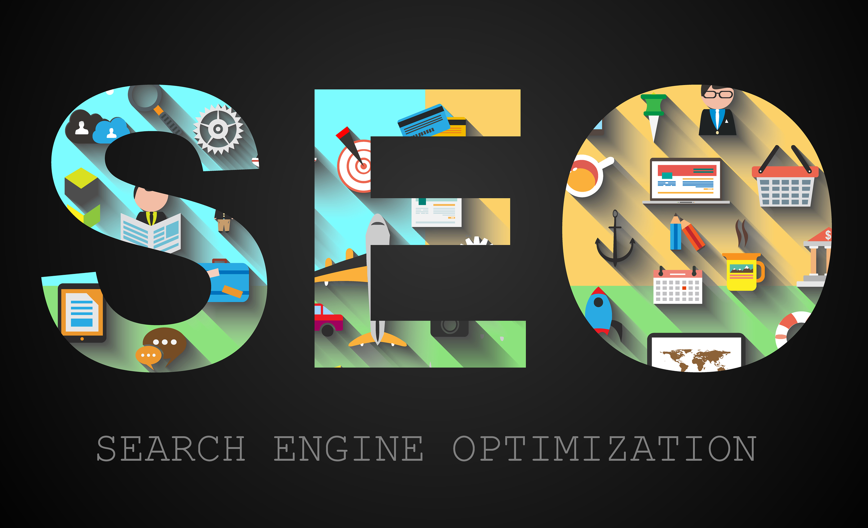 SEO Search engine optimization concept with Flat design and a lo